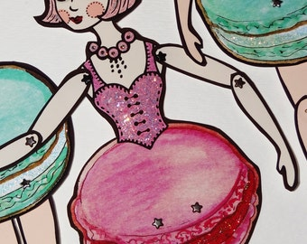 Framboise Laduree Macaron Original Fully Assembled Articutlated Paper Art Doll