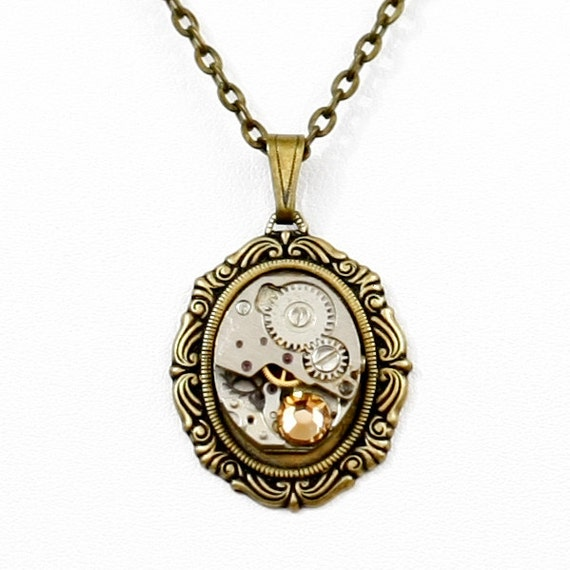 Steampunk Antiqued Brass Victorian Necklace with Vintage Watch and Swarovski Topaz Crystal by Velvet Mechanism