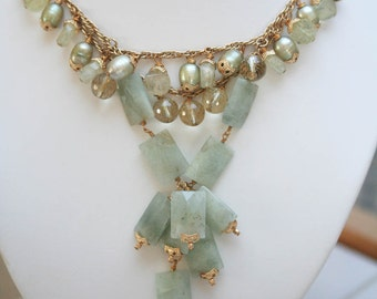 Sage Green Necklace Gemstone Necklace Statement Necklace Bib Necklace One of a Kind Bridal Wedding Necklace
