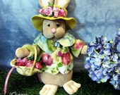 Bunny Doll, Roses, Spring, Rabbit Doll, Spring Doll, Primitive Doll