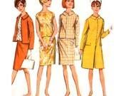 1960s Mod Coat / Slim Skirt / Jacket / Blouse - Simplicity 6882 - Vintage Sewing Pattern - Size 16 / Bust 36