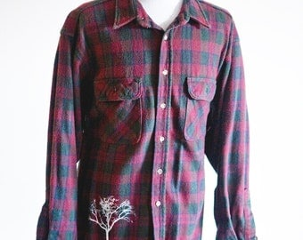 Men's Flannel Shirt / Upcycled / Screen Printed Tree / Size XL