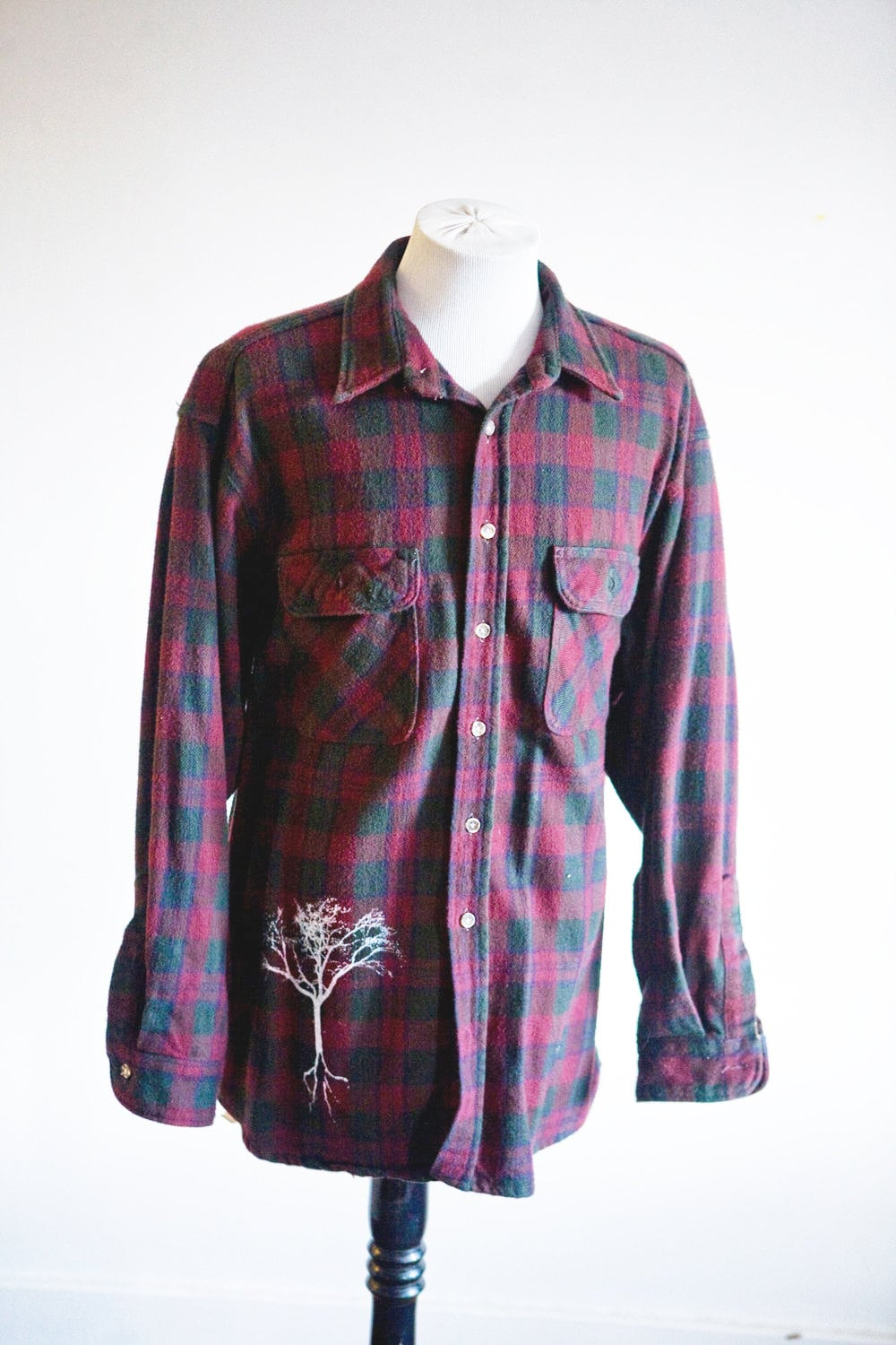 men 39 s flannel shirt upcycled screen printed tree