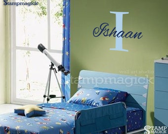 Baby Name Wall Decal - customized initial custom name decal - baby name decal graphics - K052