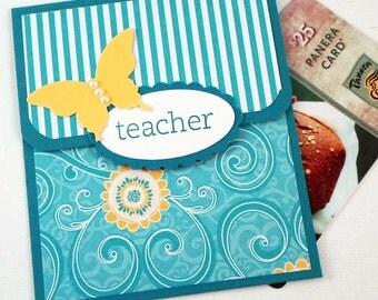 Teacher Card, Teacher Gift Card Holder, Teacher Appreciation, Teacher Thank You, End of School Year Teacher Gifts, Teal and Yellow