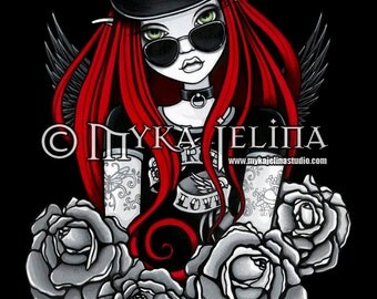 Harley Biker Angel Tattoo Red Fairy Art Print