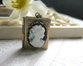Cameo locket necklace, black and white, keepsake jewelry, lady cameo