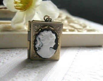 Cameo locket necklace, black and white, keepsake jewelry, lady cameo