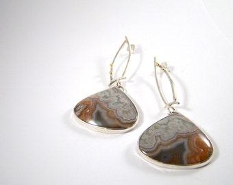Lace Agate Teardrop Zen Dot Statement Earrings Dangle Post Modern Rustic Jewelry