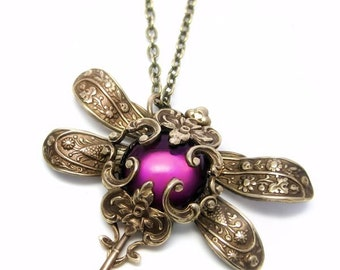 Victorian Dragonfly necklace, purple pendant necklace,  dragonfly pendant, Statement necklace, Filigree Jewelry, gift idea