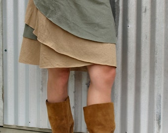 Layered Reversible Wrap Skirt made from Hemp & Organic Cotton
