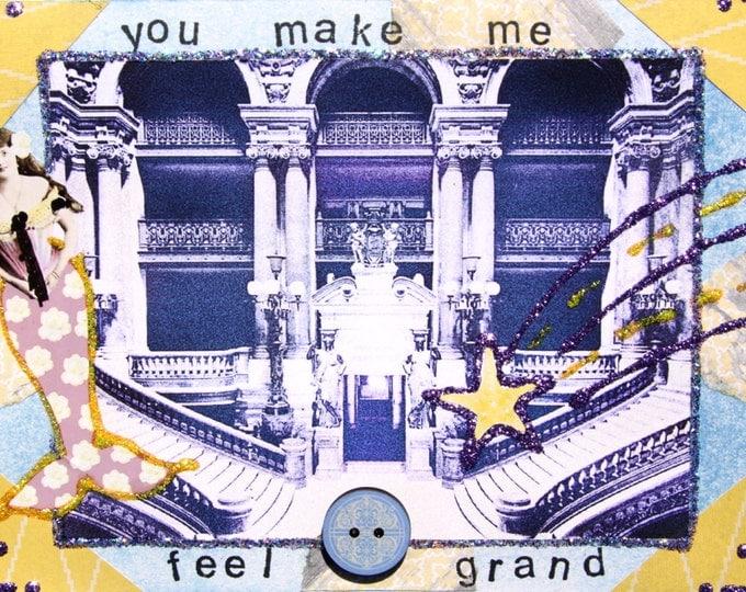 You Make Me Feel Grand, Handmade Collage Art Greeting Card, 3d, Mermaid, Stairwell, Grand, Size 5x7, Blank Inside
