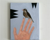 Hand and Finch - Original Acrylic Painting