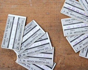 Vintage Fortune Cards • Scrapbook Supplies • Weight Stamp Ticket • Craft Supplies • 1920s Ephemera • 1920s Fortune Cards • Woolworth Cards