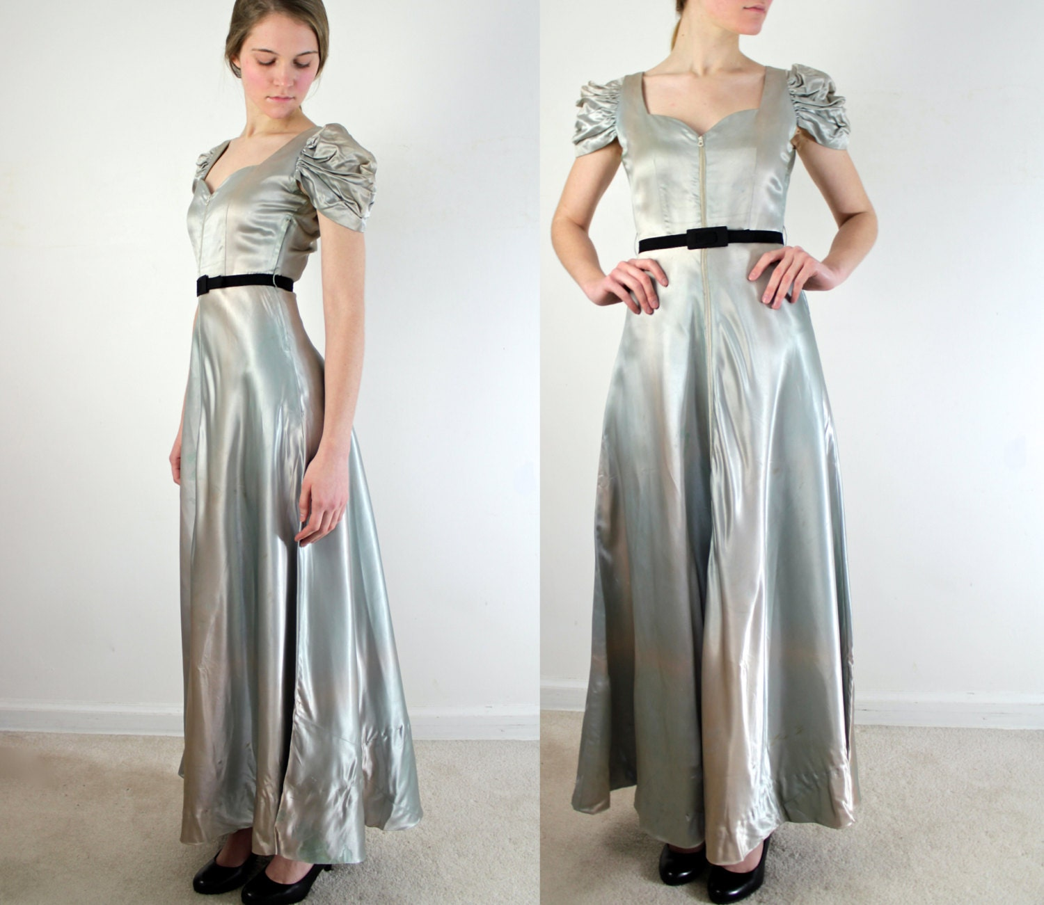 Vintage 1930s Dress Ombre Liquid Satin Evening Gown