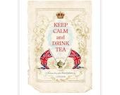 Keep calm and drink tea, print, Union Jack,  typography, vintage decor, British flag, tea, red, white, blue, home decor, vintage tea print