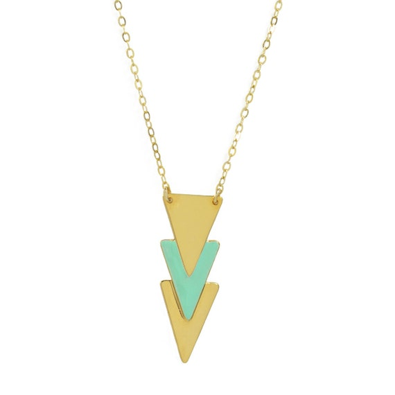 Layered Enameled Triangle Necklace // Gold Enameled Arrow Shapes on Gold Chain Necklace // Choose Your Accent Color