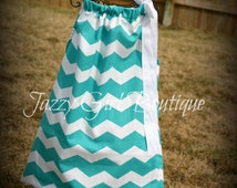 Girls Pillowcase Dress Turquoise Chevron Stripe with Large Light White Bow Over One Shoulder  Sz 6mo, 12mo, 18mo, 2T, 3T, 4T, and 5