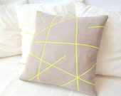 Beige linen pillow cover with neon yellow stripes  Mikado Series - PALEOLOCHIC