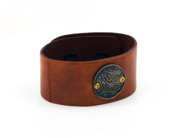 Colorado State Quarter Leather Cuff, Authentic State Quarter Bracelet