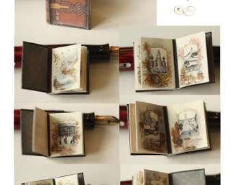 Victorian Travel Photo Album Instant Digital Download Miniature Book 1:12 scale Printable Project, Light Brown DH009