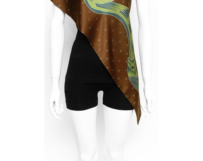Handpainted Silk Scarf, Snake Scarf, Hand made scarf, Brown scarf, Unique Scarf, Handmade, Tribal scarf, Neck scarf men, Aztec scarf