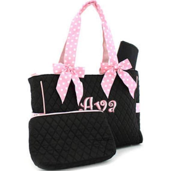diaper bag personalized black pink polka dots quilted. Black Bedroom Furniture Sets. Home Design Ideas