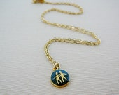 Vintage .. Necklace, Horoscope Charm, Chain Gemini Twins Black Enamel Goldtone