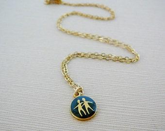 Vintage .. Necklace, Horoscope Charm, Chain Gemini Twins Black Enamel Goldtone