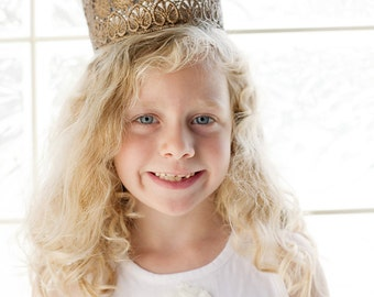 Vintage Inspired Silver or Gold Lace Crown/Tiara newborn, baby or child photography prop/birthday accessory/Keepsake