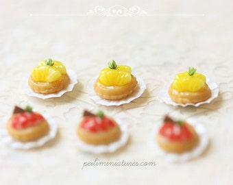 Dollhouse Miniature Food - Fruit Tarts in 1/12 Dollhouse Miniature Scale