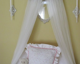 TUFTED BeD CaNoPy Crib WHITE Satin Princess Ballet Upholstered Ballerina bedroom cornice coronet teester valance So Zoey Boutique custom