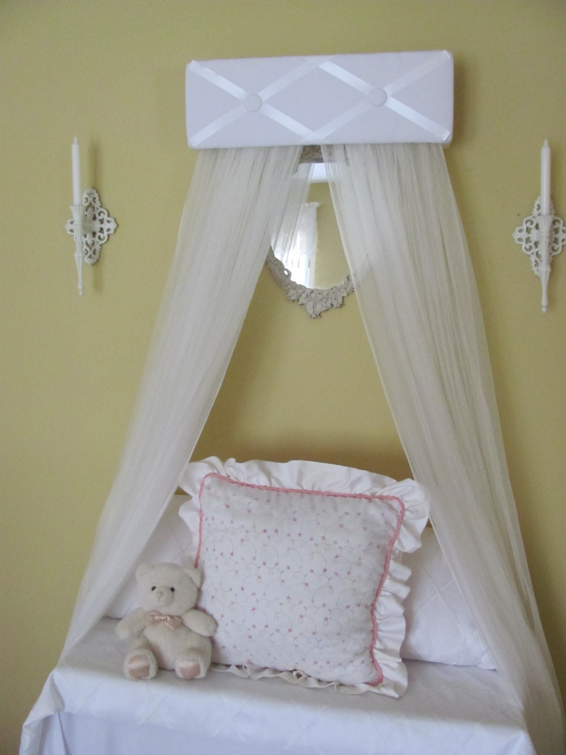 Tufted bed canopy crib white satin princess ballet upholstered for White canopy crib