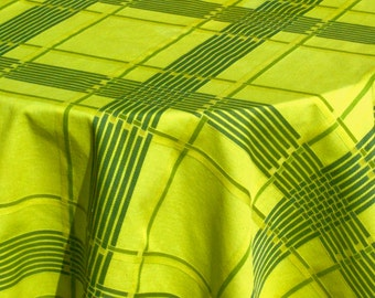 Vintage Midcentury OPTICAL Tablecloth Chartreuse Modernist Plaid