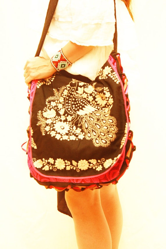 Peacock mexican bag embroidered black gold tote