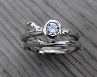 Diamond Branch Engagement and Wedding Ring Set, .25ct VS/GH Diamond, Recycled Gold