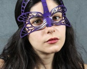 Dragonfly leather mask in purple
