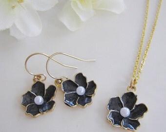 Black Flower Earrings, Earring Necklace Set, Pearl, Black Flower Necklace, Wedding Jewelry, Modern, Flower Girl Jewelry, Bridesmaid Earrings