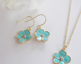 Turquoise Flower Earrings, Gold, Earring Necklace Set, Dainty, Turquoise Blue Lotus Blossom, Flowergirl Jewelry, Bridesmaid Earrings