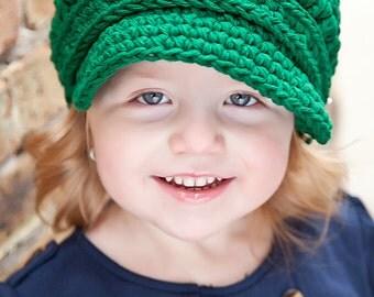 Baby Newsboy Hat 9 to 12 Month Baby Girl Newsboy Cap Baby Boy Newsboy Baby Hat Baby Girl Hat Baby Boy Hat Emerald Green Newsboy Crochet