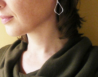 Arabesque Earrings in Sterling Silver - Large, Lightweight Sterling Silver Outline Earrings
