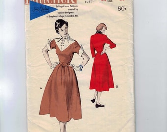 1950s Vintage Sewing Pattern Butterick 5477 Juniors Contrast Trim Dress Size 11 Bust 29 50s