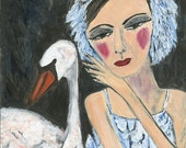 Irina's Swan.   Limited edition print of an original oil painting by Vivienne Strauss.