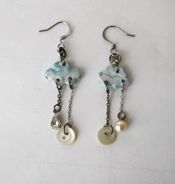 Porcelain Raincloud Earrings