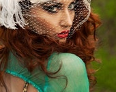Unique Ivory Birdcage Veil, Feather Fascinator, Bridal Head Piece, Hair Accessory, Hat, Pink, Swarovski Crystal Flower, Batcakes Couture