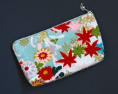 Vintage Kimono Silk Zip Pouch Clutch Purse Kiku and Momiji