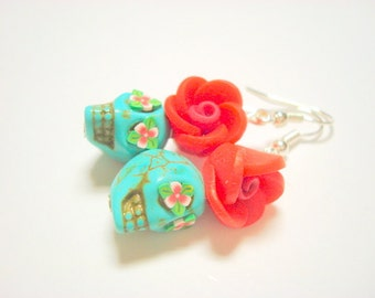 Turquoise and Red Day of the Dead Rose and Sugar Skull Earrings