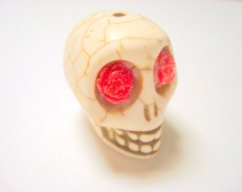 Gigantic Ivory Howlite Skull Bead or Pendant  with Red Glitter Roses in Eyes