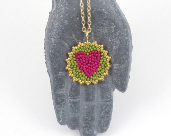 Beadwoven Heart Mandala Necklace ( berry pink / olive green ) - - - gold-filled chain / Joyful / Token of Love / Wedding Party Gift /
