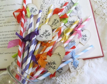 Alice Paper Party Straws Drink Stir with Drink Me Heart Tags - Choice of Straw & Ribbon Colors - Set of 18 - Tea Party Bridal Baby Shower